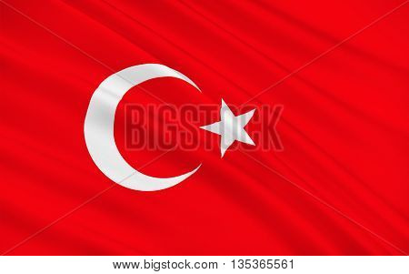 Flag of Turkey officially the Republic of Turkey is a parliamentary republic in Eurasia largely located in Western Asia with the smaller portion of Eastern Thrace in Southeast Europe. 3D illustration