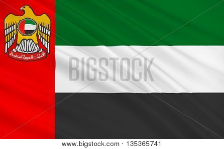 Flag of United Arab Emirates sometimes simply called the Emirates or the UAE is a country located at the southeast end of the Arabian Peninsula on the Persian Gulf. 3D illustration
