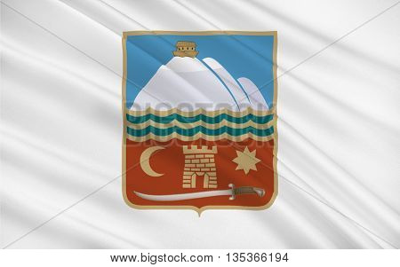 Flag of Nakhchivan is the capital of the eponymous Nakhchivan Autonomous Republic of Azerbaijan. 3D illustration