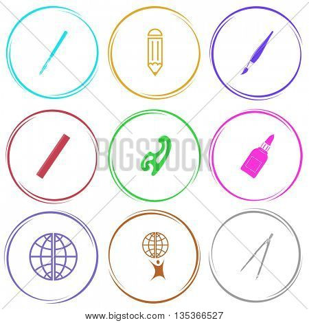 ruling pen, pencil, brush, ruler, french curve, glue bottle, globe, little man with globe, caliper. Education set. Internet button. Vector icons.