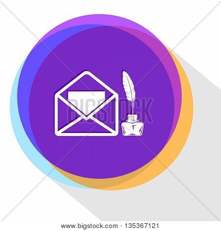 open mail with inkstand. Internet template. Vector icon.