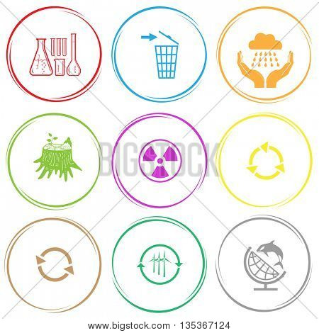 chemical test tubes, recycling bin, weather in hands, stub, radiation symbol, recycle symbol, wind turbine, globe and shampoo. Ecology set. Internet button. Vector icons.