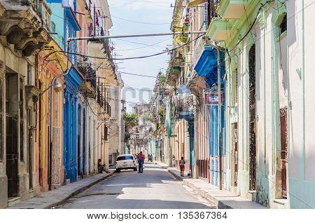HAVANA, CUBA - MARCH 16, 2016: Street life in the Old Havana neighborhood Cuba
