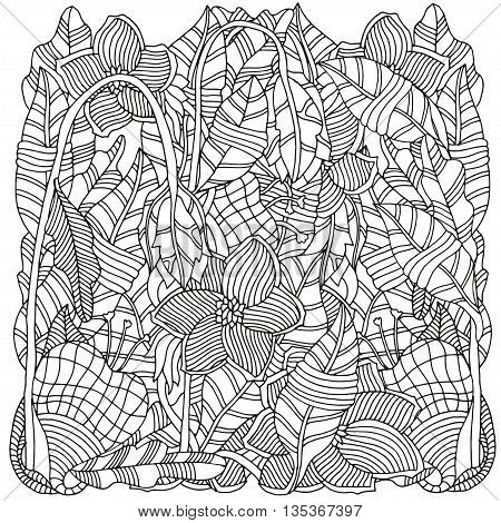 Pattern for coloring book. Ethnic floral retro doodle vector tribal design element. Black and white background.