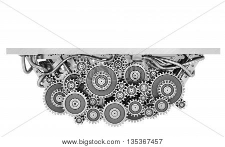 Concept of work. Pedestal in form of mechanism of gears isolated on a white. Teamwork. 3d illustration