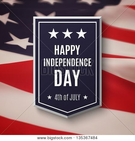 Happy Independence day, 4th of July background. Banner on top of American flag. Vector illustration.