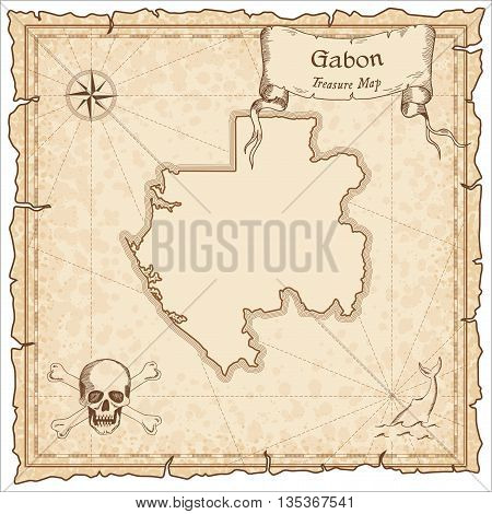 Gabon Old Pirate Map. Sepia Engraved Template Of Treasure Map. Stylized Pirate Map On Vintage Paper.