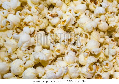 Close up view of white pop corns.