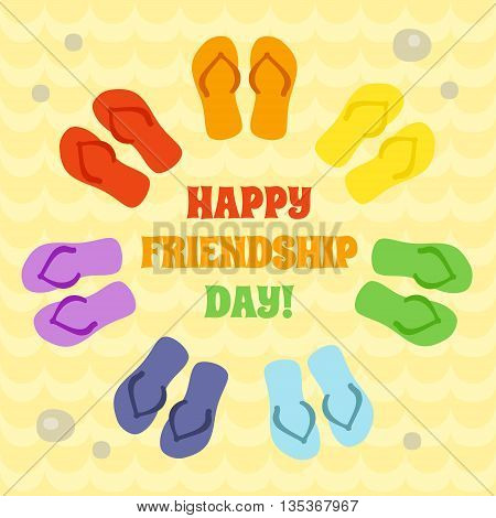 Card for Happy Friendship day. Rainbow flip flops in circle on the sand. Art vector illustration.