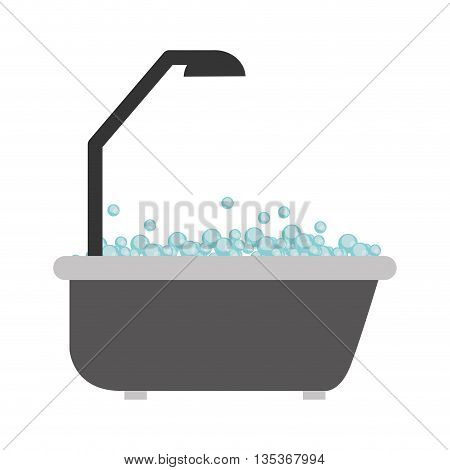 bathtub and shower with bubbles vector illustration