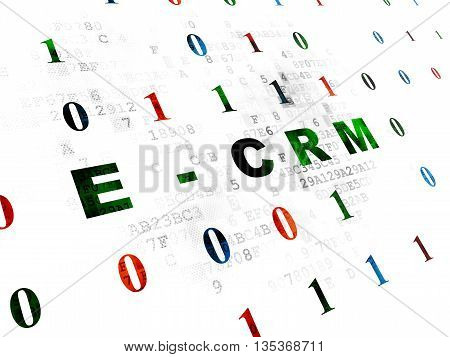 Business concept: Pixelated green text E-CRM on Digital wall background with Binary Code