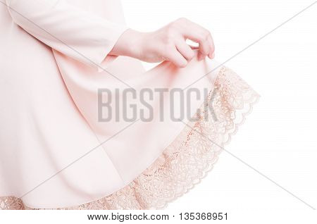 Close-up Of Fashion Woman Hand Holding Her Pink Dress