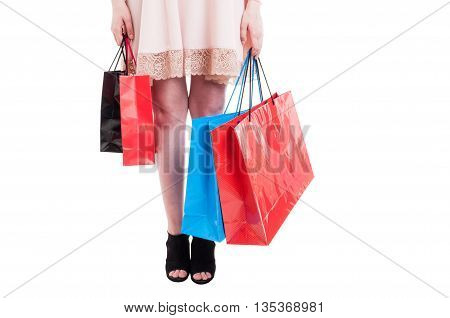 Picture Of Female Legs Carrying Many Shopping Bags