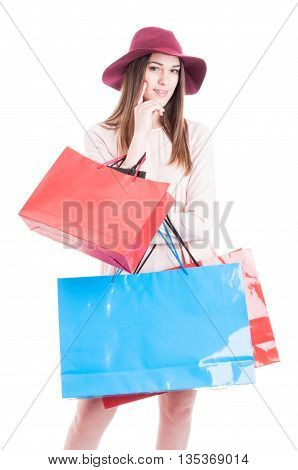 Attractive Young Female Holding Many Shopping Bags And Smiling