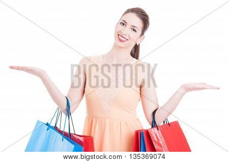 Woman At Shopping Showing Copy Space Area With Both Hands