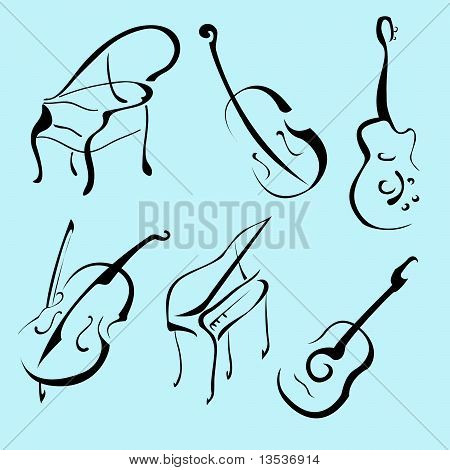 Music Instruments Design Set
