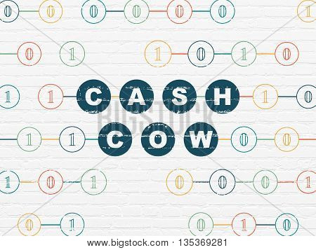 Finance concept: Painted blue text Cash Cow on White Brick wall background with Binary Code