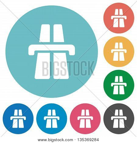 Flat highway icon set on round color background.