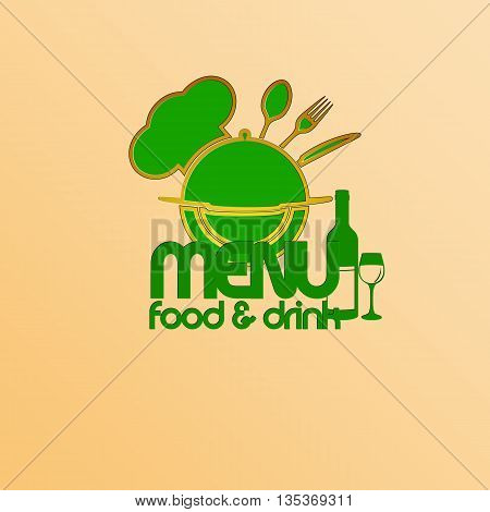 Vector illustration of a restaurant menu template. A plane figure with a stencil cap chef, dish knife fork and spoon in green colors.
