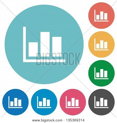 Flat statistics icon set on round color background.