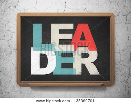 Business concept: Painted multicolor text Leader on School board background, 3D Rendering