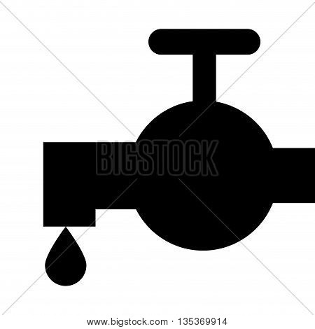 black silhouette faucet with droplet icon vector illustration