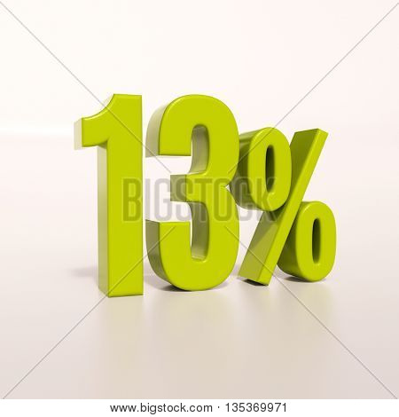 3d render: green 13 percent, percentage discount sign on white, 13%