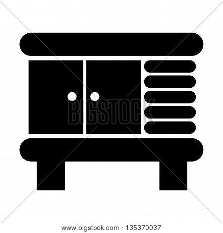 black and white bathroom cabinet icon vector illustration