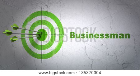 Success business concept: arrows hitting the center of target, Green Businessman on wall background, 3D rendering