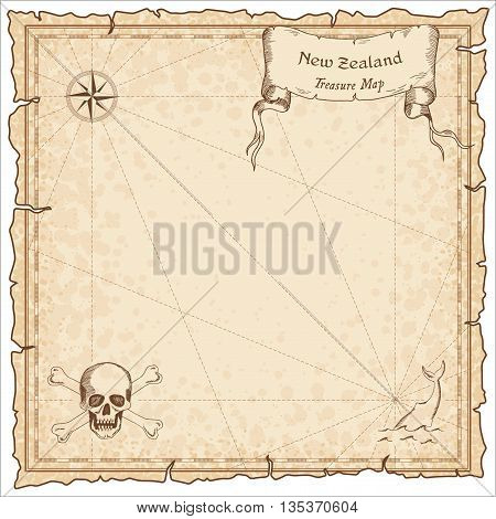 New Zealand Old Pirate Map. Sepia Engraved Template Of Treasure Map. Stylized Pirate Map On Vintage