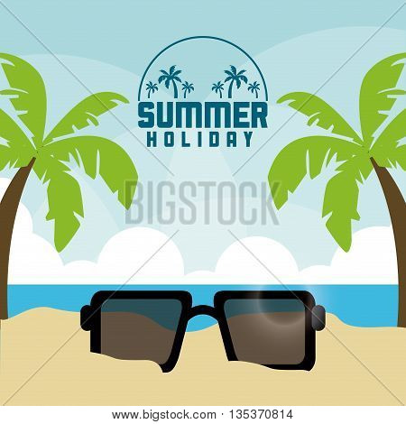 Summer Holidays represented by palm tree and glasses design. colorfull illustration