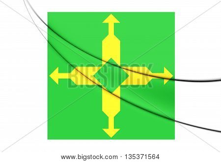 Flag Of Federal District, Brazil. 3D Illustration.