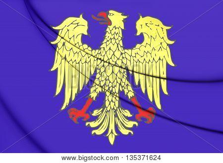 Flag Of Friuli Region, Italy. 3D Illustration.