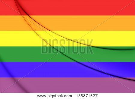 Gay Pride Flag.  Close Up.