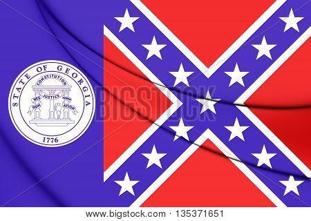 Flag Of Georgia State (1956-2001), Usa. 3D Illustration.