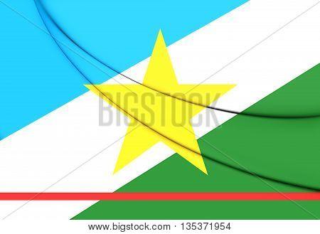 Flag of Roraima Brazil. Close Up.
