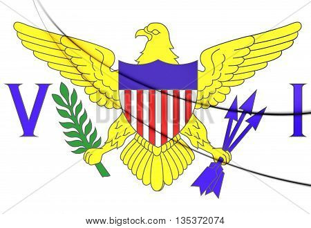 Virgin Islands Of United States Flag. 3D Illustration.