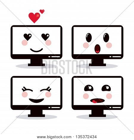 Kawaii represented by computer cartoon icon. Happy expression.   isolated and flat background