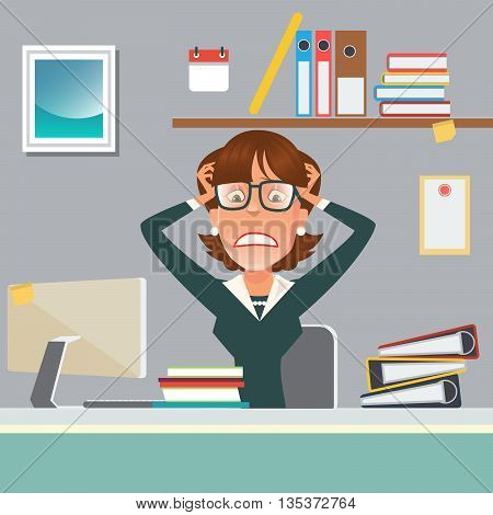 Stressed Businesswoman in Office Work Place with Computer and Documents. Vector illustration
