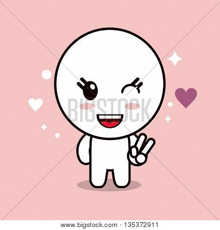 Kawaii represented by circle cartoon icon. Happy expression. pink and flat background