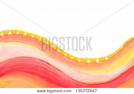 Colorful watercolor brush stroke isolated on white. Red and yellow wawes on white background.