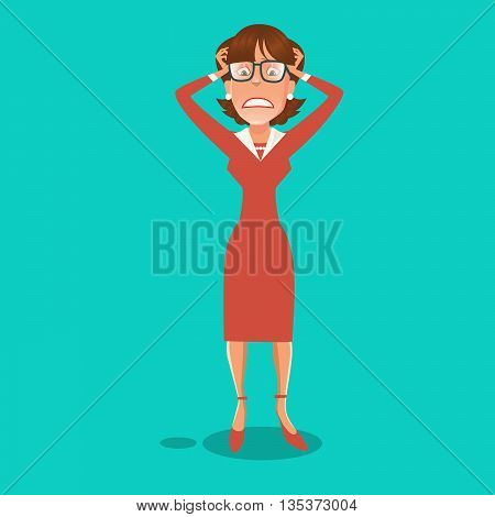 Stressed Business Woman Having a Headache. Vector illustration