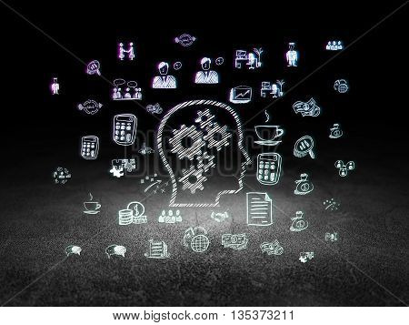 Business concept: Glowing Head With Gears icon in grunge dark room with Dirty Floor, black background with  Hand Drawn Business Icons