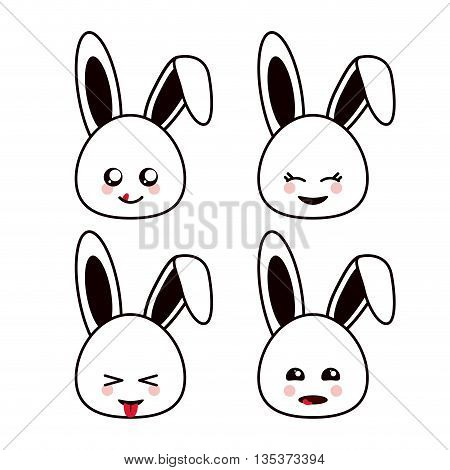 Kawaii represented by rabbit cartoon icon. Happy expression. isolated and flat background