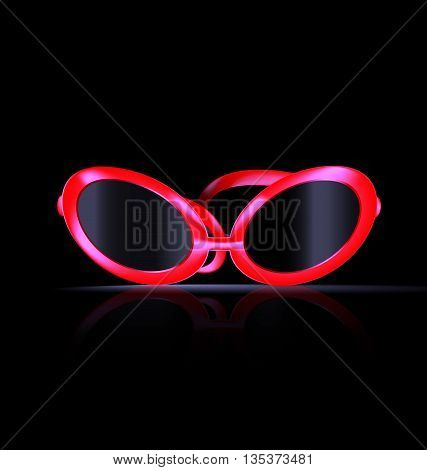 dark background and large red balck eyeglasses