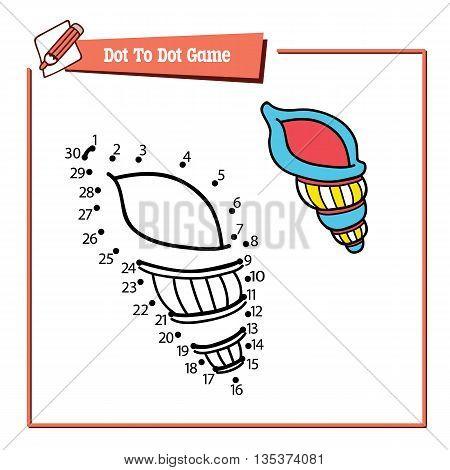 dot to dot shell educational kid game. Vector illustration educational game of dot to dot kid puzzle with cartoon shell for children