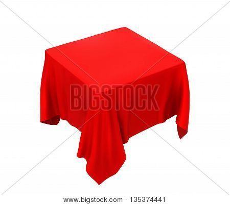 Red tablecloth isolated on a white background.  vector illustration.