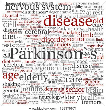 Vector concept conceptual Parkinson`s disease healthcare or nervous system disorder abstract square word cloud isolated on background