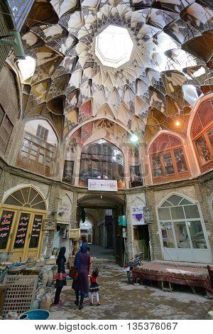 KASHAN IRAN - APRIL 20: Interior of market (Bazaar) in Kashan Iran on April 20 2015. Bazaar of Kashan is the most important tourist attraction in Kashan Iran.