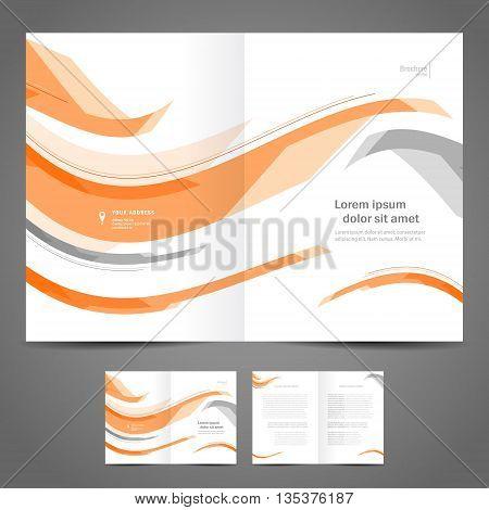 brochure design template folder leaflet orange grey curves line abstract element white background
